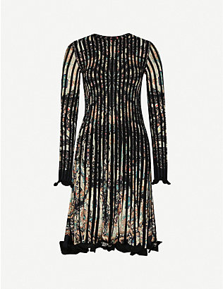 ETRO: Frilled-cuffs paisley-print knitted midi dress
