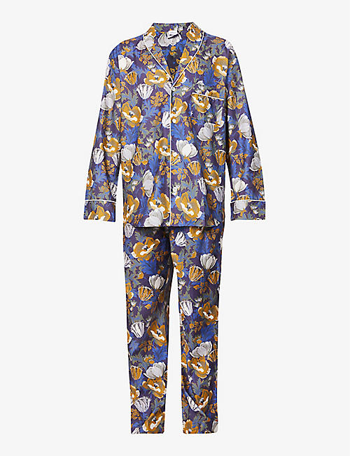 ZIMMERLI: Floral-print shawl-collar cotton-poplin pyjama set