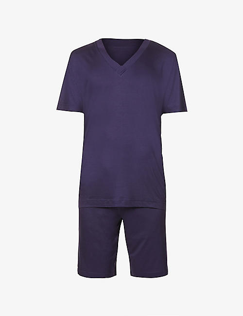 ZIMMERLI: V-neck stretch-jersey pyjama set