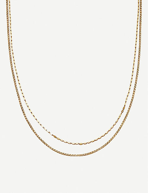 MISSOMA: Box link double chain 18ct gold vermeil on sterling silver necklace