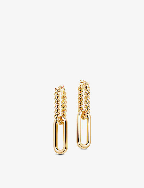 MISSOMA: Radial Ovate 18ct yellow gold-plated vermeil sterling silver drop hoop earrings