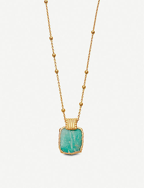 MISSOMA: Lena 18ct yellow gold-vermeil and amazonite charm necklace
