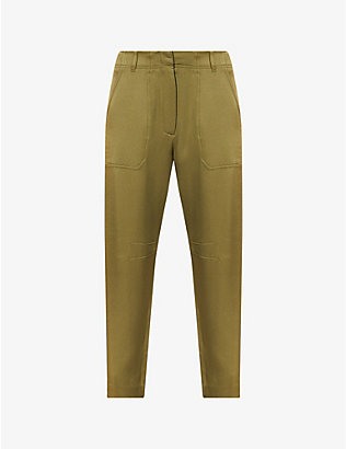 VERONICA BEARD: Miranda tapered high-rise satin-crepe trousers