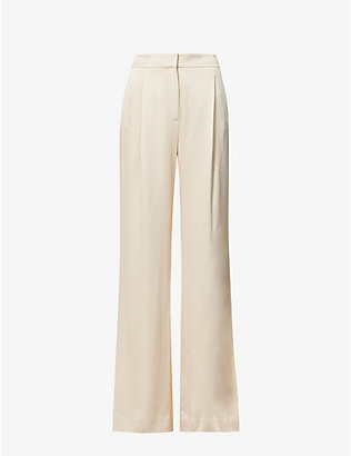 VERONICA BEARD: Robinne wide-leg high-rise satin-crepe trousers