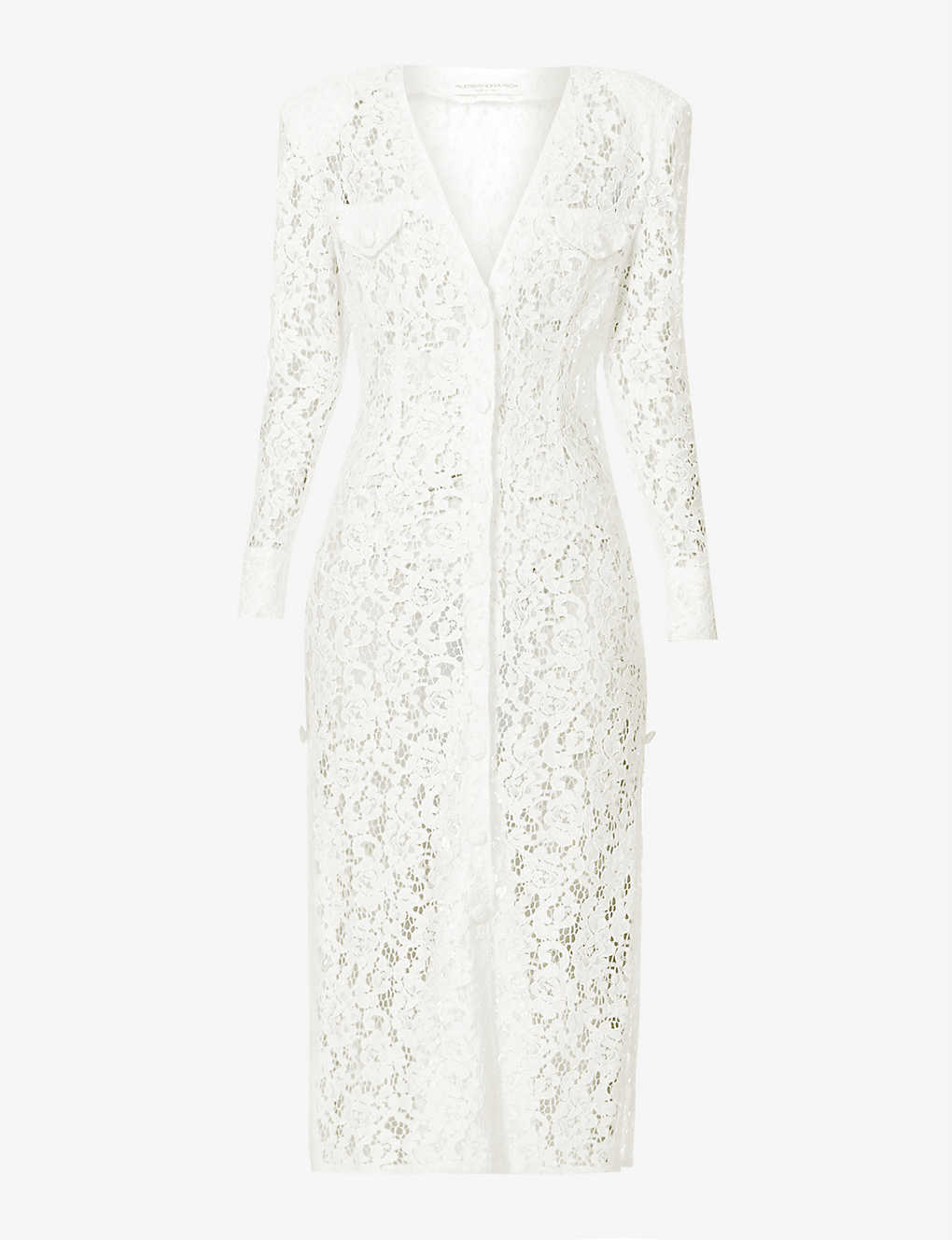 ALESSANDRA RICH: V-neck long-sleeved floral lace dress