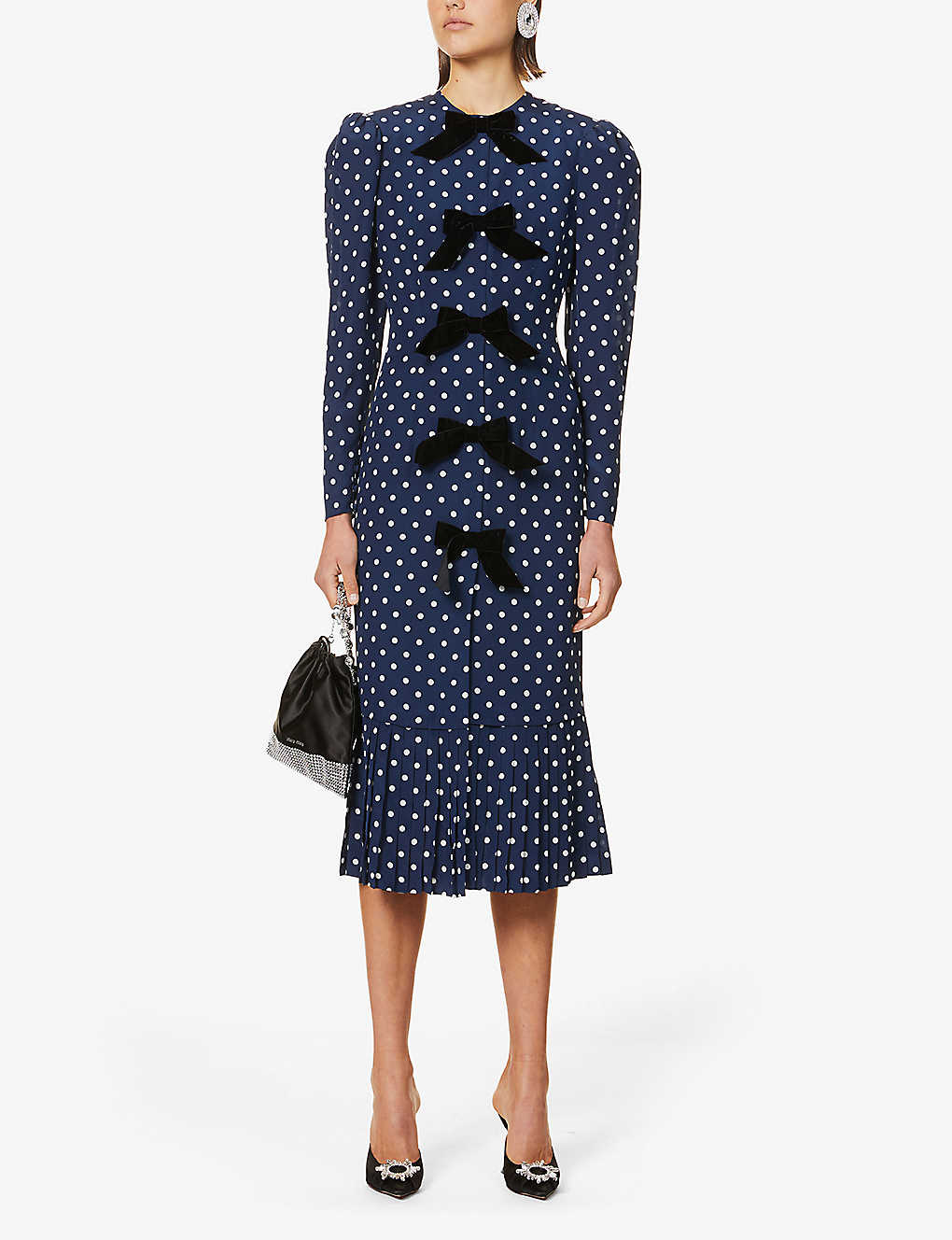 ALESSANDRA RICH: Bow-embellished polka-dot silk midi dress