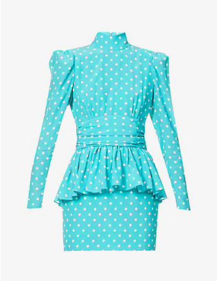 ALESSANDRA RICH: High-neck polka dot-print silk mini dress