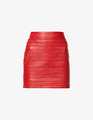 ALESSANDRA RICH: Striped high-waist leather mini skirt