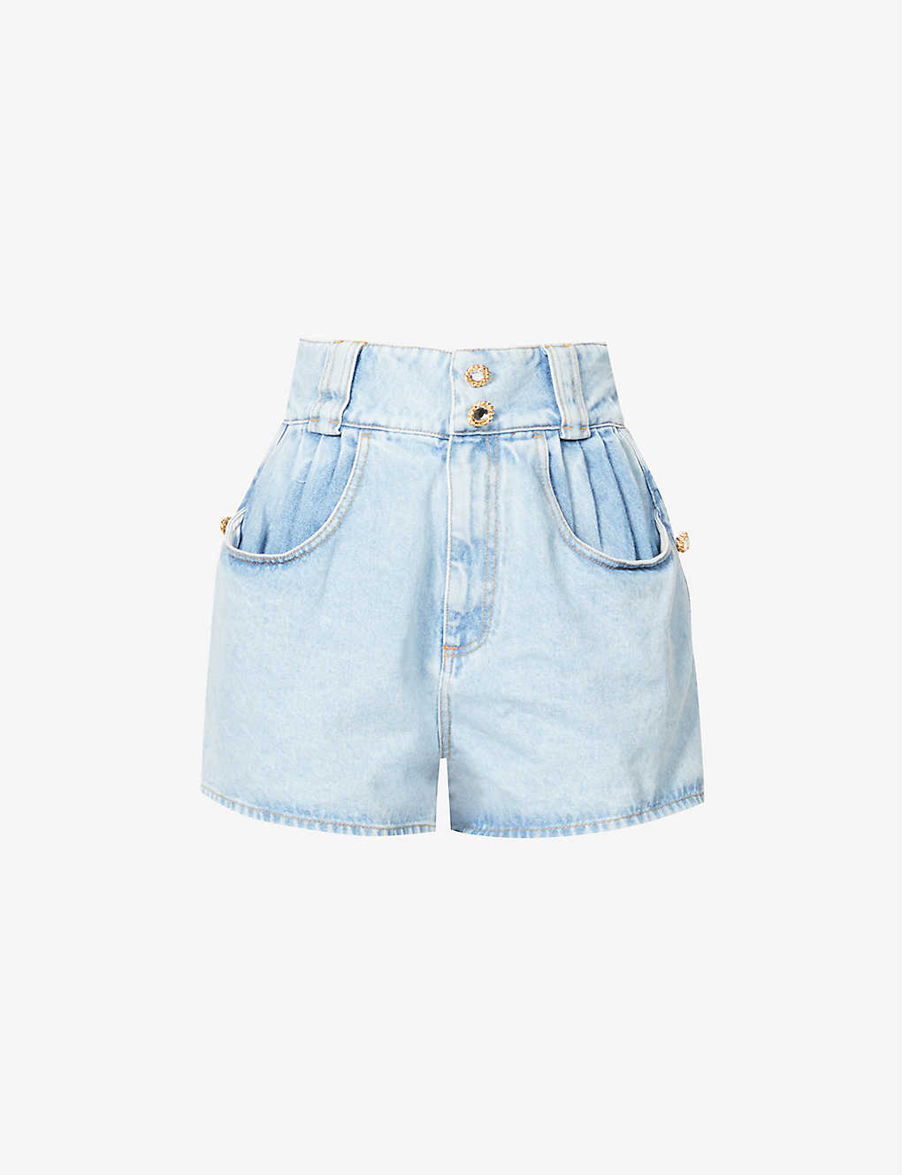ALESSANDRA RICH: Wide-leg high-rise denim shorts