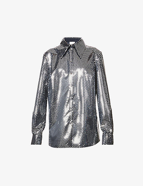 MAGDA BUTRYM: High Shine mirrored-pattern crepe shirt