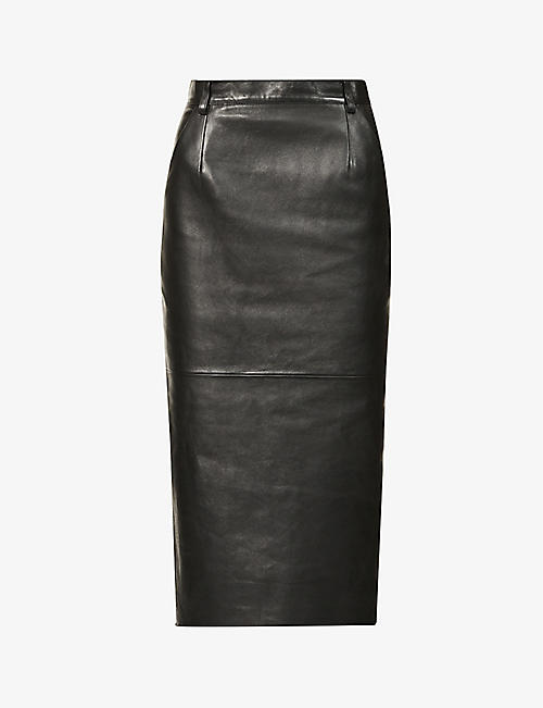 MAGDA BUTRYM: High-rise leather midi skirt