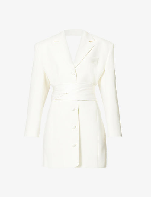 MAGDA BUTRYM: Single-breasted silk and wool mini blazer dress