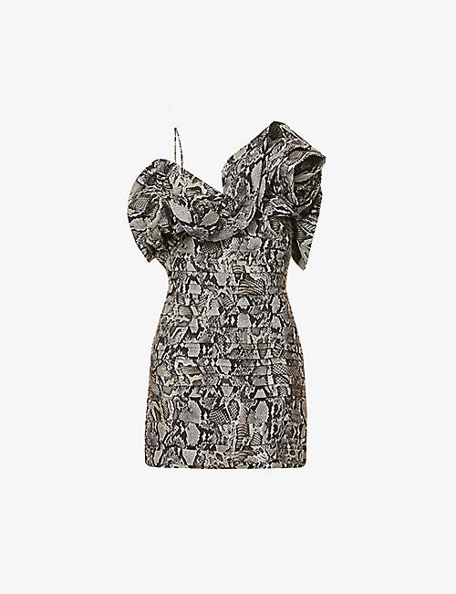 MAGDA BUTRYM: Ruffled snake-print silk mini dress