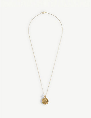 HERMINA ATHENS: Hercules yellow-gold plated sterling silver coin pendant