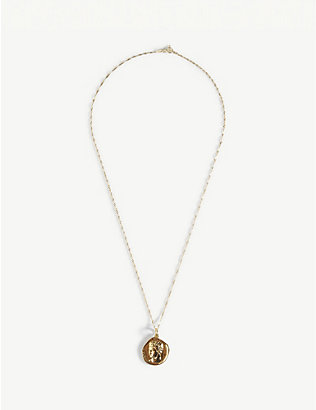 HERMINA ATHENS: Hermis yellow-gold plated sterling silver coin pendant