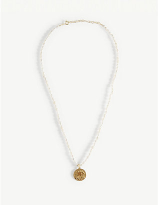 HERMINA ATHENS: Kressida yellow-gold plated sterling silver and pearl necklace