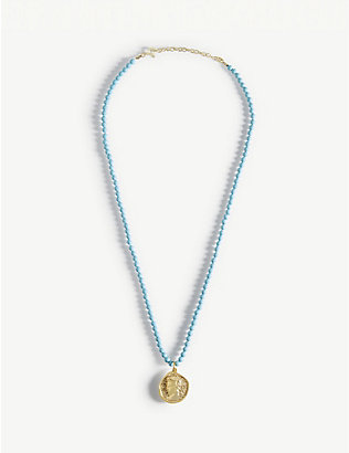 HERMINA ATHENS: Hermis yellow gold-plated sterling silver and turquoise necklace
