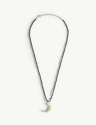 HERMINA ATHENS: Melies moon yellow gold-plated sterling silver and spinel stones necklace