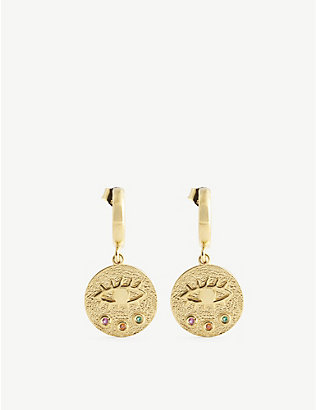 HERMINA ATHENS: Kressida yellow gold-plated sterling silver earrings