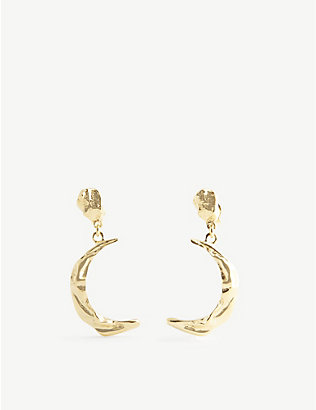 HERMINA ATHENS: Melies moon yellow gold-plated sterling silver earrings