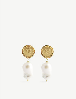 HERMINA ATHENS: Hercules Lost Sea yellow gold-plated sterling silver and pearl earrings