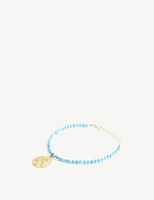 HERMINA ATHENS: Athena yellow gold-plated sterling silver and turquoise bracelet