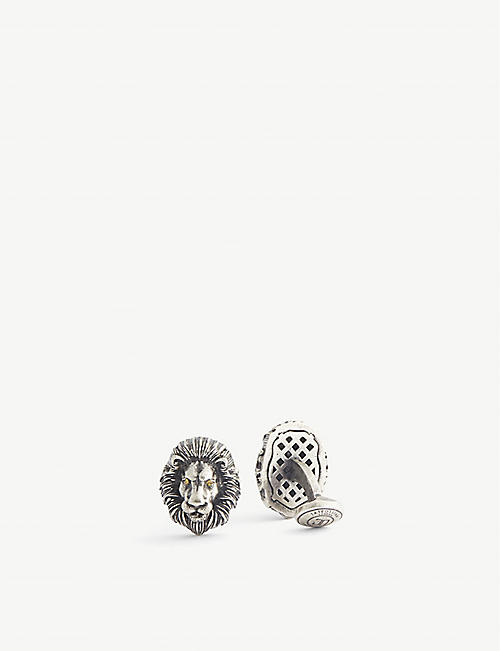 TATEOSSIAN: Mechanical Lion Swarovski crystal and rhodium-plated metal cufflinks