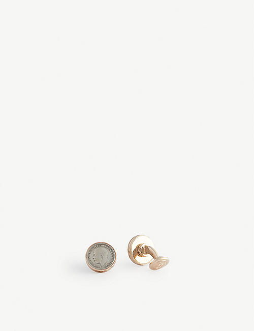 TATEOSSIAN: Coin-motif rose gold-plated sterling silver cufflinks