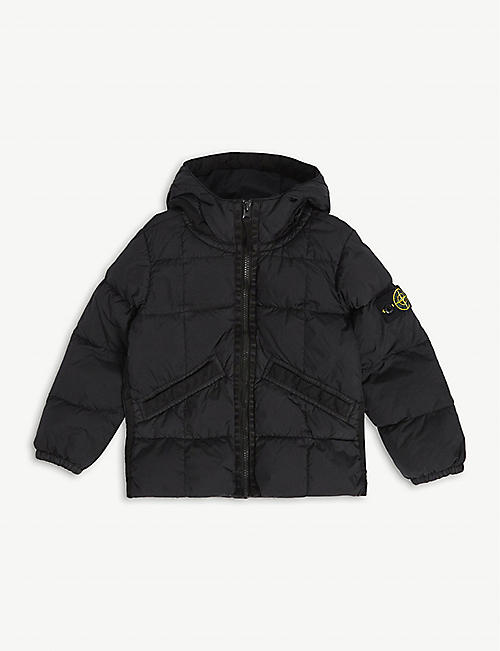 STONE ISLAND: Compass hooded puffer jacket 4-14 years