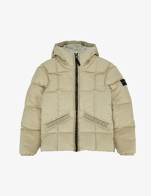 STONE ISLAND: Compass hooded shell-down jacket 8-14 years