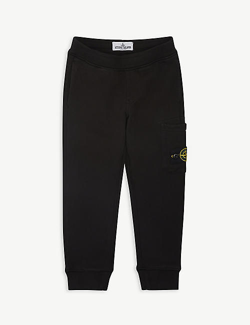 STONE ISLAND: Compass logo-patch cotton-jersey jogging bottoms 4-14 years