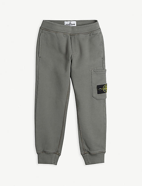 STONE ISLAND: Logo-embroidered cotton jogging bottoms 4-14 years