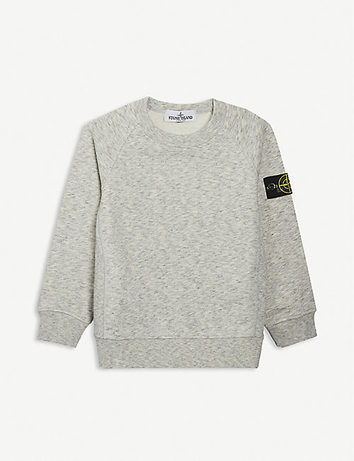 STONE ISLAND: Compass logo-patch cotton-jersey sweatshirt 4-14 years