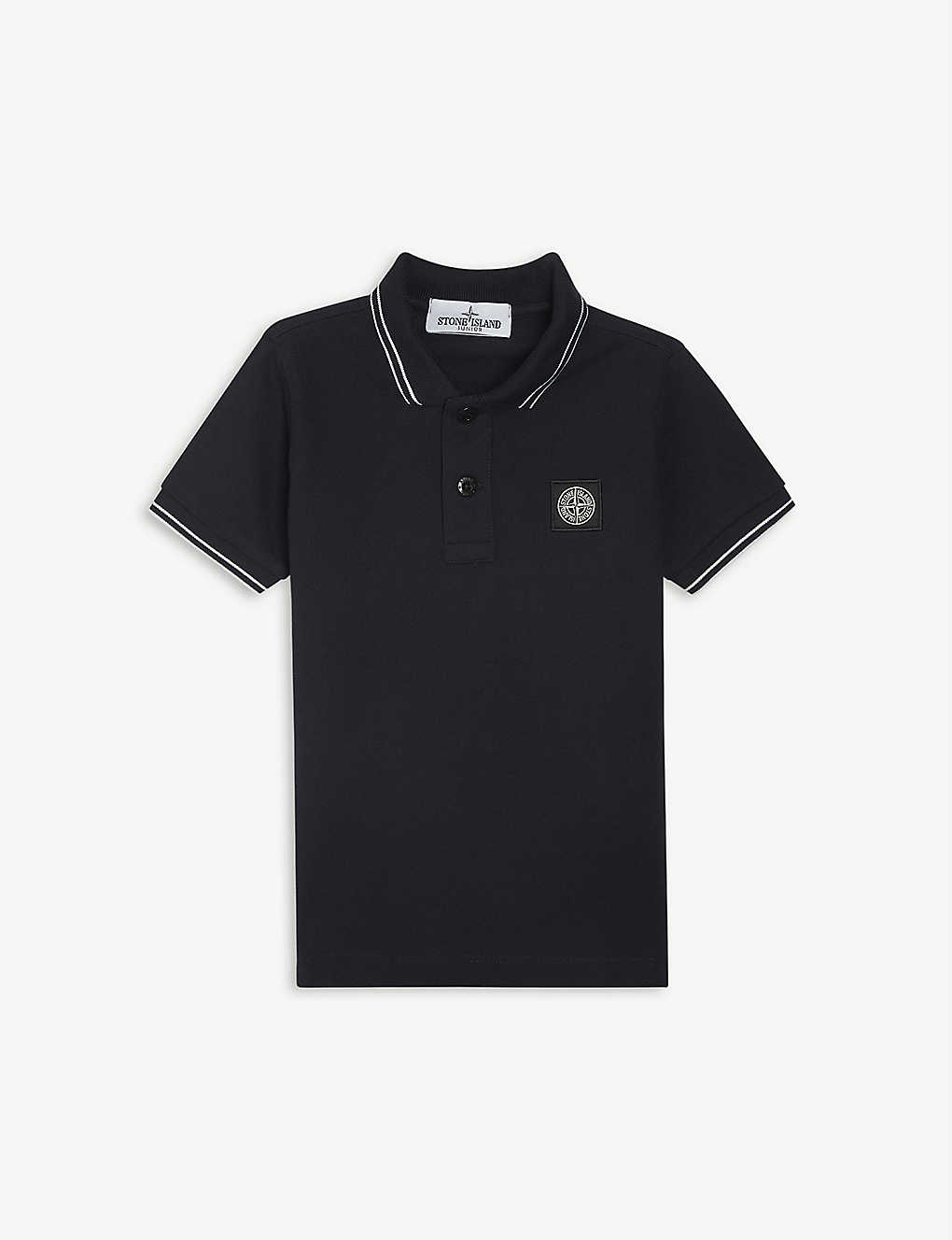 STONE ISLAND: Compass logo-patch cotton-jersey polo shirt 4-14 years