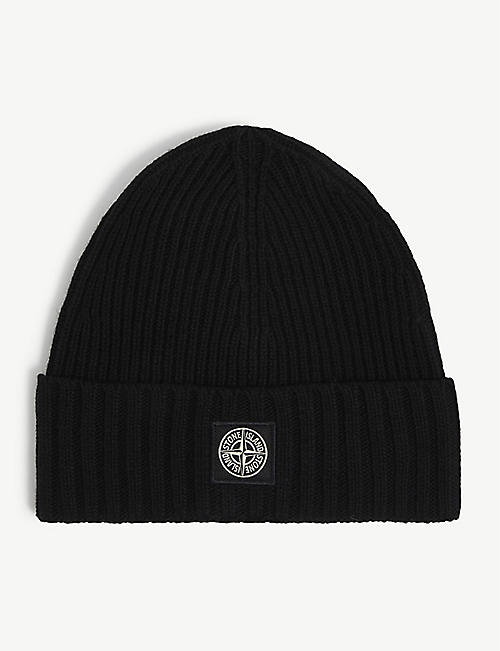 STONE ISLAND: Patch-logo wool beanie 6-14 years