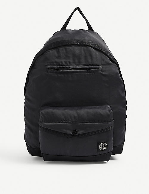 STONE ISLAND: Branded shell backpack
