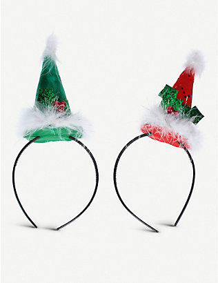 GISELA GRAHAM: Festive cone assorted hairbands