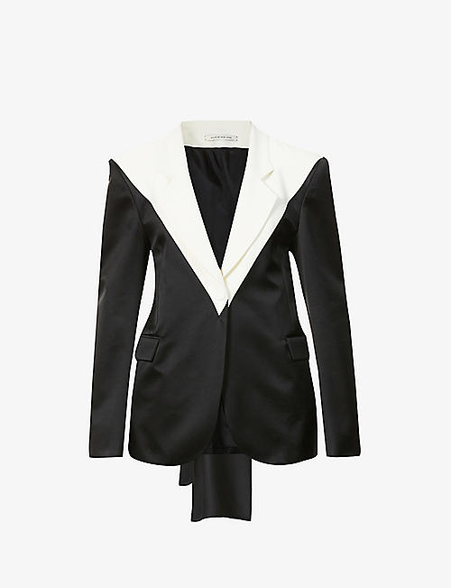 HYUN MI NIELSEN: Single-breasted two-tone cotton-silk blend blazer