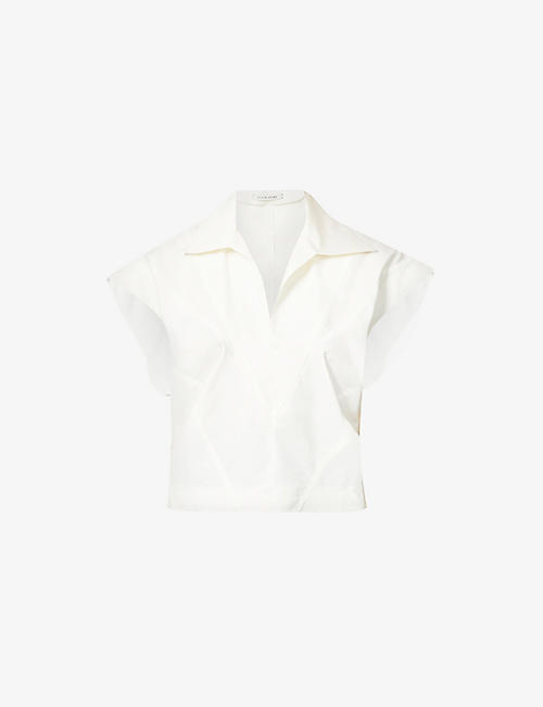 HYUN MI NIELSEN: V-neck cotton-poplin shirt