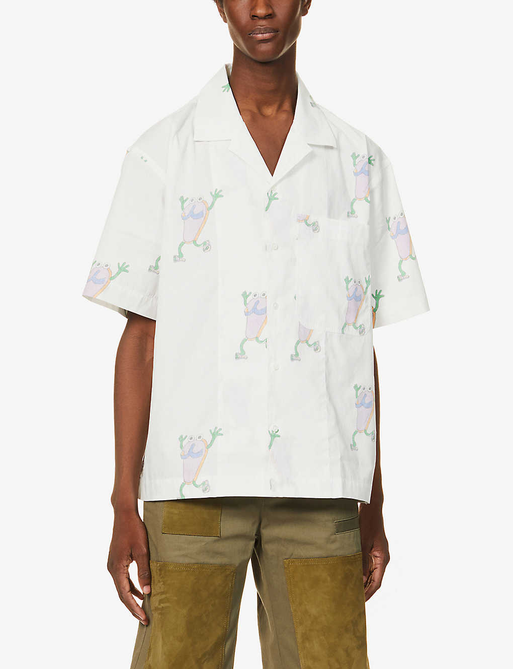 JACQUEMUS: Brand-embroidered boxy-fit cotton shirt