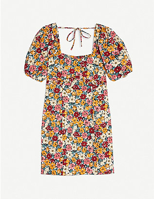 TOPSHOP: Floral-print stretch-cotton mini dress