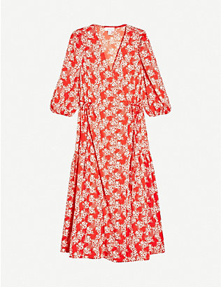 TOPSHOP: Floral-print wrap crepe midi dress