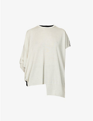 YS: Asymmetric wool-blend top