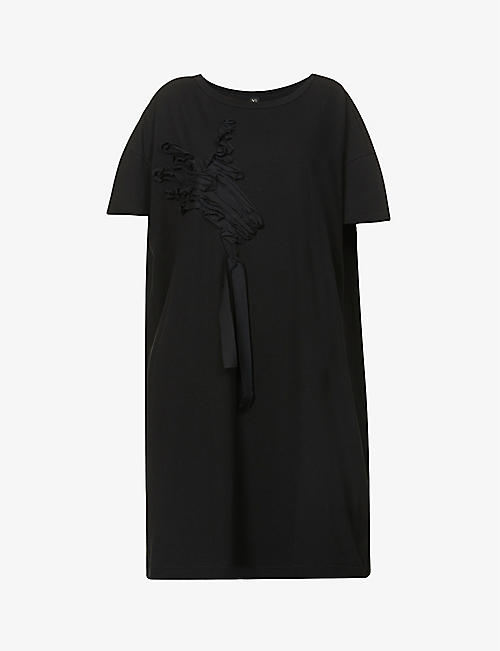 YS: Abstract-appliqué cotton-jersey midi dress