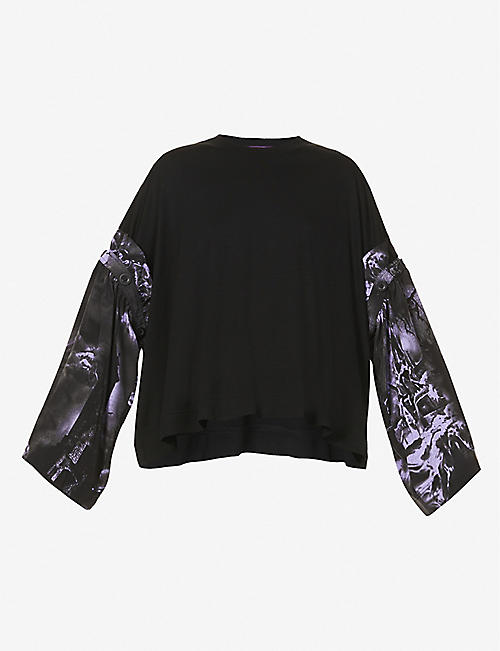 YS: Abstract-print rayon-blend top