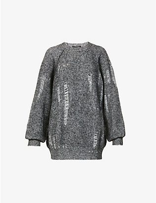 YS: Distressed wool-blend jumper