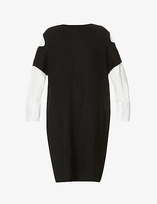 YS: Cut-out shoulder wool and cotton midi dress