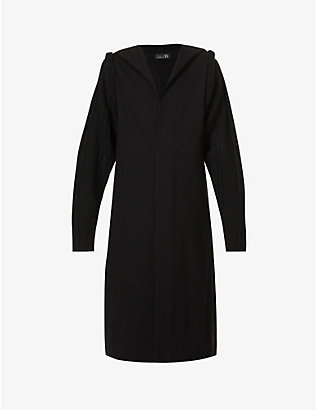YS: Hooded cable-knit cotton and wool-blend coat