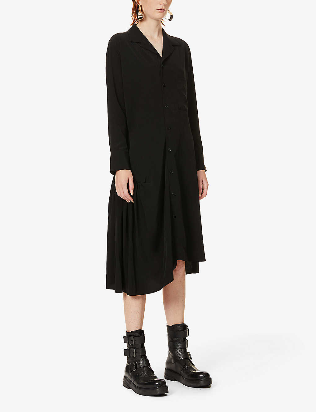 YS: Ather frilled-trim crepe maxi dress