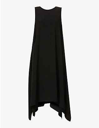 YS: Sleeveless asymmetric crepe midi dress